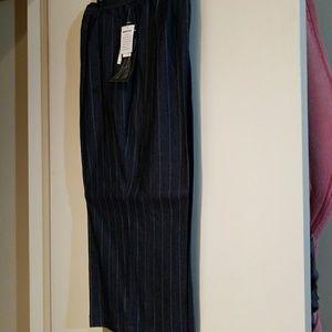 Pants - Blue Pin Strip Wide Leg Capris